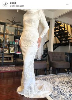 Beautiful long wedding dress by Davis Paul Lister DPKL Long Wedding Dresses, Designer Wedding Dresses, Bridesmaid Dresses, Wedding Abaya, Malay Wedding Dress, Wedding Things, Wedding Blog, Wedding Planner, Wedding Ideas