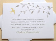 english or spanish thank you sympathy cards with a bird in the tree personalized