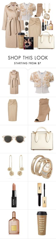 """""""I don't do small talk!"""" by pulseofthematter ❤ liked on Polyvore featuring MaxMara, Blumarine, N°21, Burberry, Issey Miyake, Strathberry, Rosantica, Bulgari, NYX and Yves Saint Laurent"""