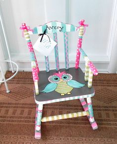 Personalized Painted Owl Child Rocking Chair, Made To Order, Girl Rocking Chair