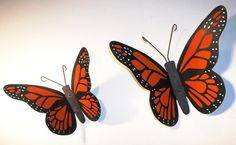 Vintage Large Steel Metal Monarch Butterfly Outdoor Exterior Yard Art Décor…
