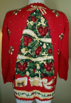 Ugly Christmas Tree Sweater M Tunic Style Red Knit xmas Retro Maggie Lawrence #MaggieLawrence