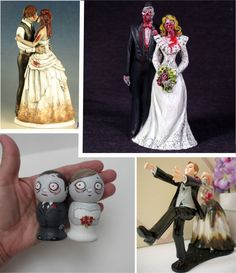 Zombie couple cake topper. The last one with the zombie bride holding back the groom is probably my fave. Just hilarious.