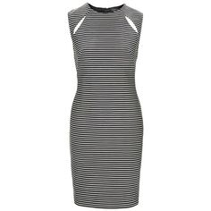 Topshop Spliced Shoulder Body-Con Dress (€38) ❤ liked on Polyvore featuring dresses, topshop, bodycon wrap dress, cut out bodycon dress, black and white bodycon dress, black white stripe dress and black white striped dress