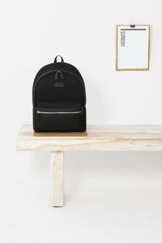 Minimalistic black backpack crafted with neoprene and vegan leather.  Backpack Craft, Black Backpack, c3af5a32989