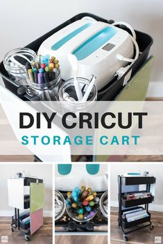 DIY Cricut Cart for Your Favorite Cricut Supplies Vinyl Storage, Craft Room Storage, Craft Organization, Organizing Ideas, Cricut Craft Room, Cricut Vinyl, Cricut Air, Craft Rooms, Craft Room Design