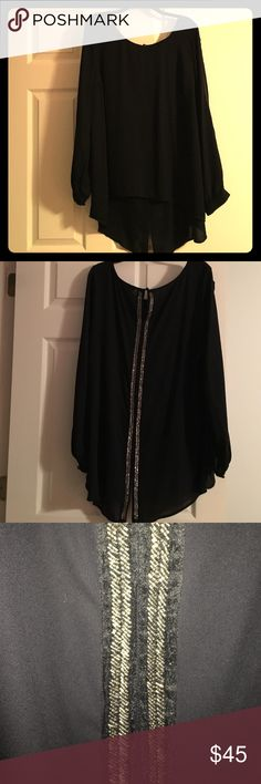 Black sheer blouse with sequin back Black top that is long in the back. There is beautiful sequin detail up the back. This shirt is stunning. I need it gone though because my closet is too full. Only worn once torrid Tops Blouses