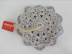 Handmade Silver Grey Crochet Coaster Set