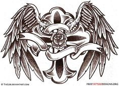 Angel Wings Tattoo Gallery | 50 Cross Tattoos | Tattoo Designs of Holy Christian, Celtic and Tribal ...