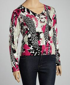 Take a look at this Pink & Black Leopard V-Neck Sweater - Plus by Carol Rose on #zulily today!