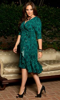 Flirty Flounce Wrap Dress, Enticing Emerald (Womens Plus Size) Plus Size Cocktail Dresses, Plus Size Dresses, Plus Size Outfits, Curvy Fashion, Plus Size Fashion, Women's Fashion, Curvy Women Outfits, Big And Tall Outfits, Popular Dresses