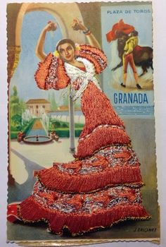Vintage Spanish Postcard Silk Embroidery Granada Flamenco Dancer unposted