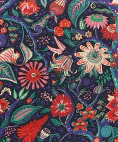 Tree of Eden, a vibrant depiction of the intriguing plant life of an imagined Eastern paradise, is an intricately designed Liberty print, with fine line detail captures a diversity of unusual flora including fruits, berries and leaves. Liberty Art Fabrics, Liberty Print, Botanical Wallpaper, Botanical Prints, Textile Patterns, Textile Prints, Textiles, Fabric Tree, Flowers