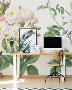 Create an office that inspires productivity at home | Keep it neutral with calming colors or be inspired by a bolder print. All of our murals and removable wallpaper can be customized for a truly individual look! 🖥️ Browse our latest home office styles here: #customhomeoffice #homeoffice #officedecor #officewallaper #officeinspo