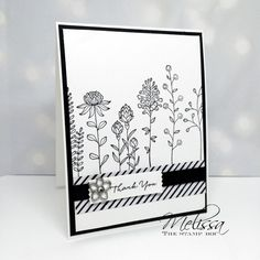 "handmade card: Flowering Fields ""Coloring Book"" Card ... use line art with no color ... Stampin' Up!"