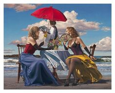 Paul Kelley's sensual art has a romantic appeal, from his figurative painting, fashion artwork, and nude art prints, to his dance artwork and Nova Scotia art. Paintings I Love, Painting Prints, Wall Art Prints, Fine Art Prints, Dress Painting, Paul Kelly, Fashion Artwork, Parasols, Red Umbrella