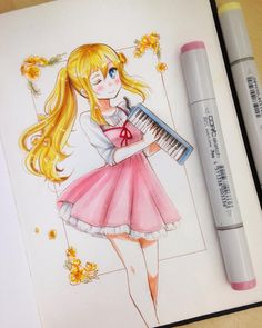 Kaori 💕😊 small drawing for 😳💖 (im still finishing christmas presents 😅) I hope youre having a good day guys! Copic Marker Art, Copic Art, Small Drawings, Cute Drawings, Pretty Art, Cute Art, Anime Chibi, Anime Art, Copic Drawings