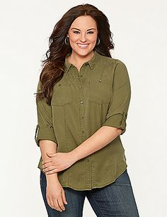 A classic, collared camp shirt in sage (one of our favorite neutrals!) offers casual-cool styling for any-season wear. #LaneBryant
