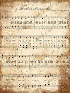 Grungy Aged Vintage Christmas Carol Music Digital Sheet INSTANT Printable Download 5 x 7 Hark the Herald Angels Sing - I Saw Three Ships