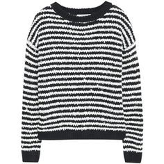 Mango Striped Wool Blend Jumper, Black/White ($50) ❤ liked on Polyvore featuring tops, sweaters, shirts, black and white striped sweater, round neck sweater, cable knit sweater, striped shirt and black and white long sleeve shirt