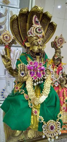 #Lakshmi #Narasimhar #Brass_Idol, #Deity Decoration #Cloths & #Jewellery