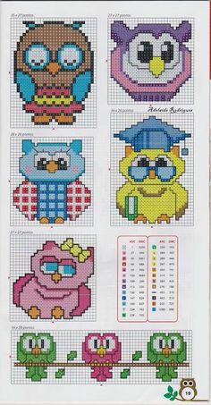 Owls perler bead pattern