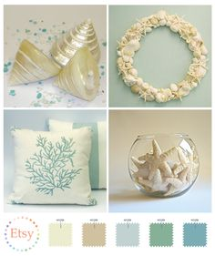 love the beachy palette......Im going to try to redo a room beachy/ cottage...! Beachy Colors, Coastal Colors, Coastal Style, Seaside Decor, Beach House Decor, Coastal Decor, Coastal Cottage, Coastal Living, Fishbowl