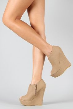 Bamboo Driven Peep Toe Wedge Bootie