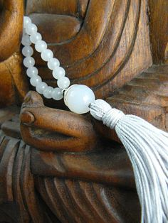Mala Bead Necklace with Natural White by goodmedicinegemstone