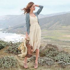 White dress and cardigan...the backdrop would be nice, too :)