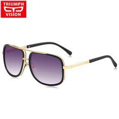 cool TRIUMPH VISION Square Pilot Sunglasses Men Driving 15.66 Lunettes De Soleil  Homme, Marques De aa877bf78ab2