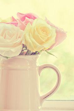 flowers, mug, yellow, roses, window, sunlight