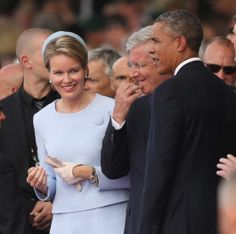 Queen Mathilde and King Philippe, with President Barack Obama of EE.UU