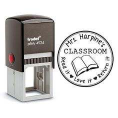 Self Inking Stamp From the Library of Teacher Gift Customizable Teacher Stamp This Belongs to Labels Personalized Black Ink Circle Classroom Stamp