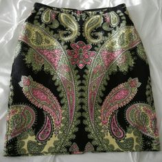 INC Pencil Skirt Black with Multi-color print Pencil skirt with lining. Only worn one time. INC International Concepts Skirts Pencil