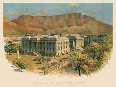 Parlementsgebouw en Tafelberg, Kaapstad als kunstafdruk Table Mountain Cape Town, Painting, Art, Art Background, Painting Art, Kunst, Paintings, Performing Arts, Painted Canvas