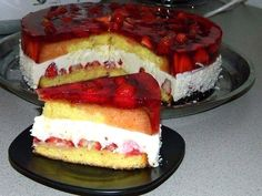 Strawberry Cake with Cottage Cheese Layer