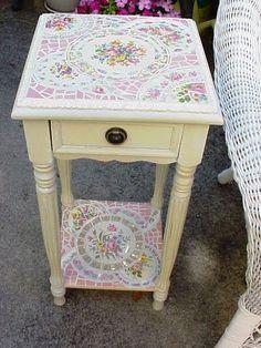 broken china mosaic side table (pair in progress)