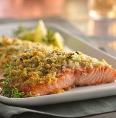 Lemon- and Parmesan-Crusted Salmon Note for next time: on convection oven don't cook more than 15 min