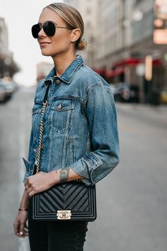 f74c0028b9a Blonde Woman Wearing Joes Jeans Denim Jacket Chanel Black Boy Bag Celine  Aviator Sunglasses Fashion Jackson