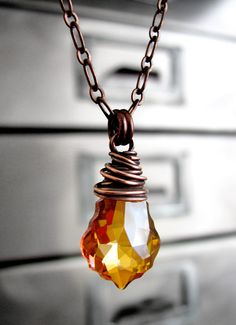 Orange Crystal Necklace Wire-Wrapped in Antiqued Copper. $38 Frm bd: Jewelry: Amber