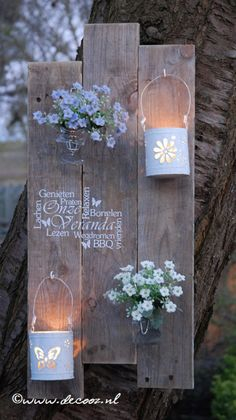 """Mooi houten bord met tekst """"Onze Veranda"""" of andere gewenste tekst. inclusief de windlichtjes en wekpotjes."""