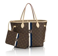 """Louis Vuitton Neverfull GM.. monogrammed Navy and Ivory with """"SJ"""" and no dots."""