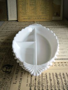 Fenton Hobnail Milk Glass Divided Dish by RushCreekVintage on Etsy, $39.50