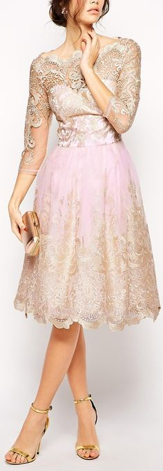 metallic rose lace dress