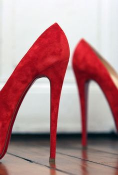 Red and Suede! - http://www.robinhesselgesser.com/under-your-shoe/.html