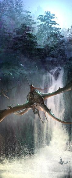 #Fantasy dragon rider illustration - artist unknown