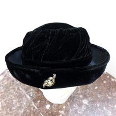 Black Velvet Hat, Fashion Hats 1960's, Costume Hat, Women's Accessories, Ladies Vintage, Formal Head Wear, Fancy Hats, Aurora Borealis pin by ClassicEndearments on Etsy