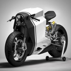 In white. Ducati Corse Panigale 1199 Cafe Racer by Ziggy Moto. Concept Motorcycles, Cool Motorcycles, Moto Bike, Motorcycle Bike, Bike Garage, Motos Retro, Xjr 1300, E Mobility, Motorbike Design