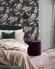 New Dawn Rose Wallpaper by Borastapeter Floral Bedroom, Bedroom Decor, Grey Headboard, Velvet Headboard, Bedroom Black, Light Bedroom, Rose Wallpaper, Bedroom Wallpaper, Trendy Wallpaper